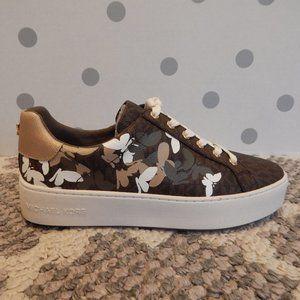 Michael Kors Poppy Lace Up Brown Butterflies 9 NIB